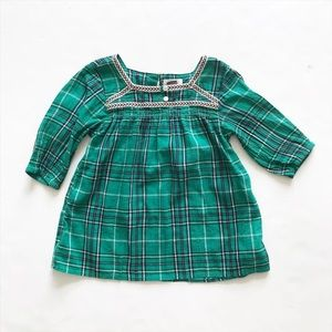 Old Navy green plaid crinkley blouse EUC XS(5T)